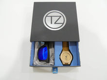 Load image into Gallery viewer, TZ LIFESTYLE | Seaside Essentials Pack | Polarized Blue Floating Bamboo Sunglasses with Tan Waterproof Wood Watch