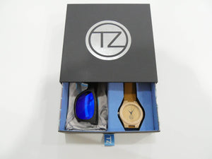 TZ LIFESTYLE | Seaside Essentials Pack | Polarized Blue Floating Bamboo Sunglasses with Tan Waterproof Wood Watch