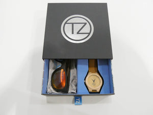 TZ LIFESTYLE | Volcanic Essentials Pack | Polarized Red Floating Bamboo Sunglasses with Tan Waterproof Wood Watch