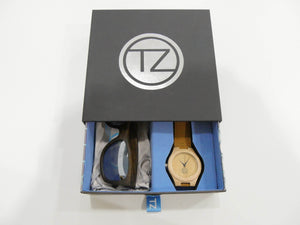 TZ LIFESTYLE | Glacier Essentials Pack | Polarized Mirrored Floating Bamboo Sunglasses with Tan Waterproof Wood Watch
