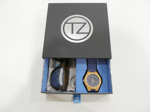 TZ LIFESTYLE | Glacier Essentials Pack | Polarized Mirrored Floating Bamboo Sunglasses with Blue Waterproof Wood Watch
