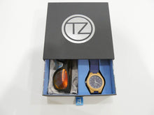Load image into Gallery viewer, TZ LIFESTYLE | Volcanic Essentials Pack | Polarized Red Floating Bamboo Sunglasses with Blue Waterproof Wood Watch