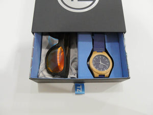 TZ LIFESTYLE | Volcanic Essentials Pack | Polarized Red Floating Bamboo Sunglasses with Blue Waterproof Wood Watch