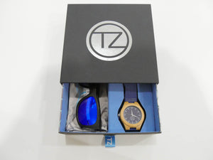 TZ LIFESTYLE | Seaside Essentials Pack | Polarized Blue Floating Bamboo Sunglasses with Blue Waterproof Wood Watch