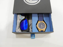 Load image into Gallery viewer, TZ LIFESTYLE | Seaside Essentials Pack | Polarized Blue Floating Bamboo Sunglasses with Blue Waterproof Wood Watch