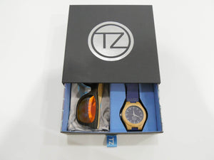 TZ LIFESTYLE | Cali Essentials Pack | Light Red Floating Bamboo Sunglasses with Blue Waterproof Wood Watch