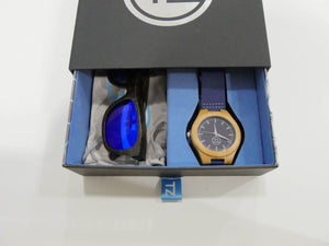 TZ LIFESTYLE | Little Gromm Essentials Pack | Kids Polarized Blue Floating Bamboo Sunglasses with Blue Waterproof Wood Watch