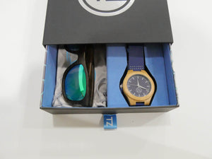 TZ LIFESTYLE | Boardwalk Essentials Pack | Polarized Green Floating Bamboo Sunglasses with Blue Waterproof Wood Watch