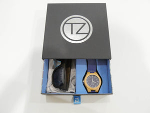 TZ LIFESTYLE | Deep Sea Essentials Pack | Black Floating Bamboo Sunglasses with Blue Waterproof Wood Watch