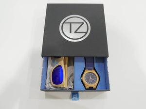 TZ LIFESTYLE | Catamaran Essentials Pack | Polarized Light Blue Floating Bamboo Sunglasses with Blue Waterproof Wood Watch