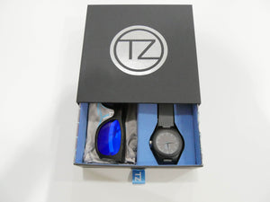 TZ LIFESTYLE | Seaside Essentials Pack | Polarized Blue Floating Bamboo Sunglasses with Gray Waterproof Wood Watch