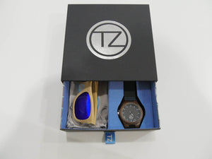 TZ LIFESTYLE | Catamaran Essentials Pack | Polarized Light Blue Floating Bamboo Sunglasses with Black Waterproof Wood Watch