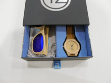 Load image into Gallery viewer, TZ LIFESTYLE | Catamaran Essentials Pack | Polarized Light Blue Floating Bamboo Sunglasses with Tan Waterproof Wood Watch