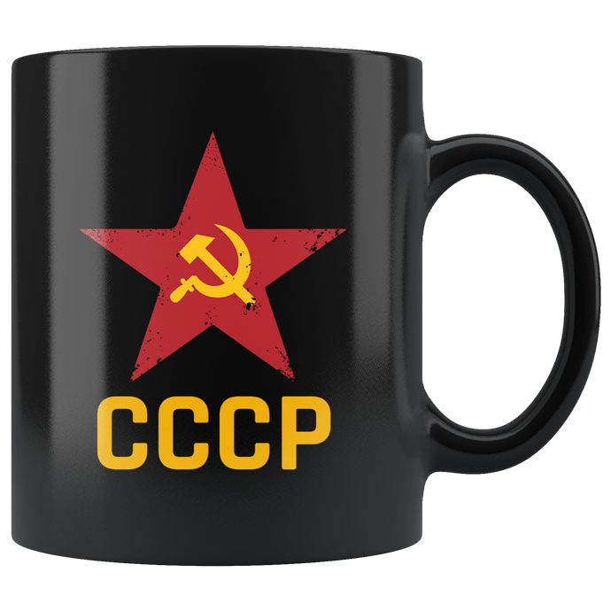 Russian USSR Black Mug