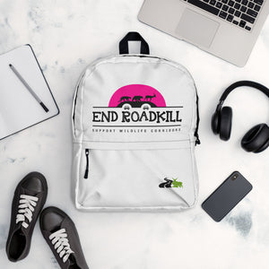 END ROADKILL Pink Sun Backpack with Front Zipper Pocket & Give Wildlife a Brake Insignia