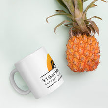 Load image into Gallery viewer, It's Their Home, Let Them Roam. Support Wildlife Corridors. Orange Sun Mug.