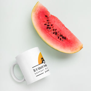It's Their Home, Let Them Roam. Support Wildlife Corridors. Orange Sun Mug.