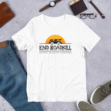 Load image into Gallery viewer, End Roadkill Support Wildlife Corridors Orange Sun Short-Sleeve Unisex T-Shirt
