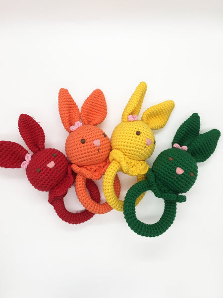 Baby Rattle - Bunny Green w/o Wood