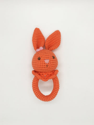 Baby Rattle - Bunny Orange w/o Wood