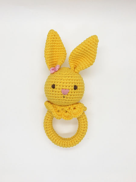 Baby Rattle - Bunny Yellow w/o Wood