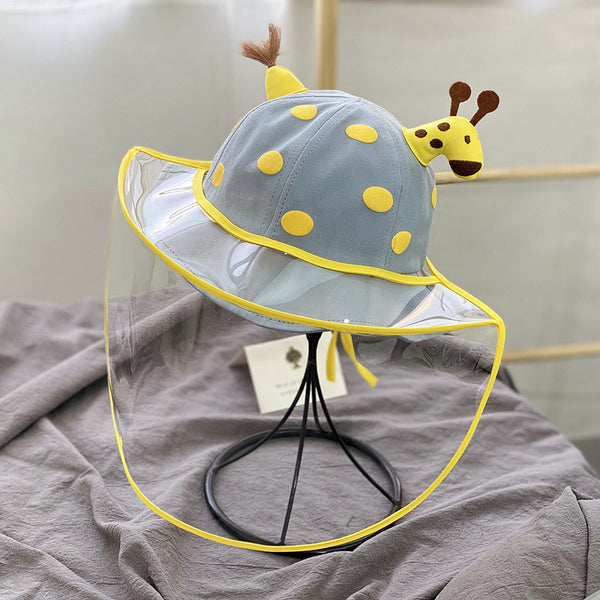 Cotton Hat with Detachable Face Shield - Giraffe for Kids