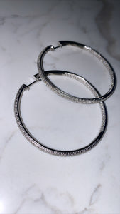 1.0ct Silver Hoop Earrings
