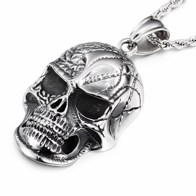 Huge Heavy Skull Polishing Stainless Steel Pendant Necklace Charm-Necklace Pendant-Rossny