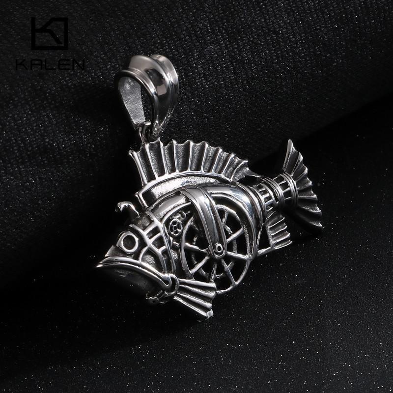 Punk Gothic Stainless Steel Chain Jewelry Necklace For Men Charms Statement Animal Fish Pendant Necklace Homme Collier-Necklace Pendant-Rossny