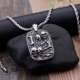 Punk Lots of Skull Heads Pendant Necklace For Men Stainless Steel Skull Bones Dog Tags Pattern Chain Necklace Jewelry-Necklace Pendant-Rossny