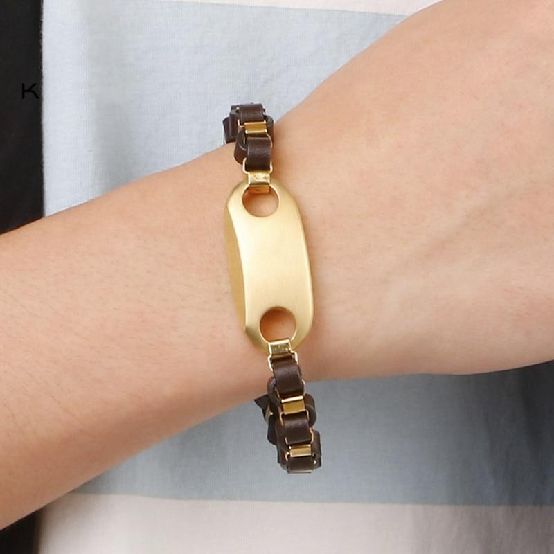 Stainless Steel Gold/Silver Geometric Charm Homme Leather Bracelet Jewelry-Bracelet-Rossny