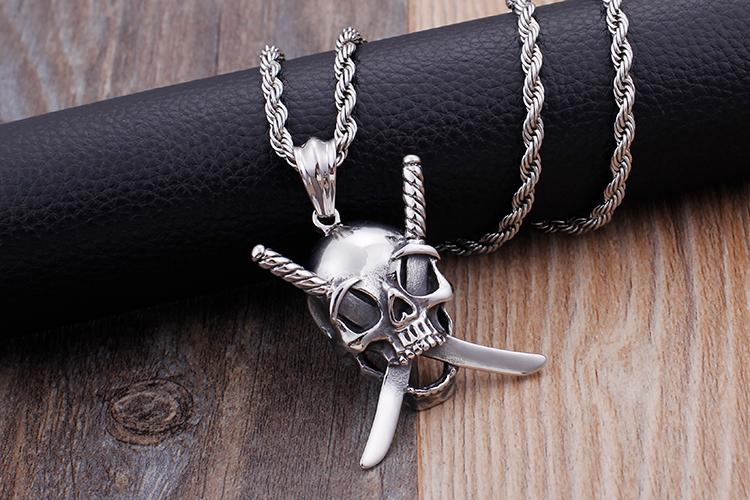 Gothic Viking Stainless Steel Skull Sword Pendant Necklace Jewelry-Necklace Pendant-Rossny
