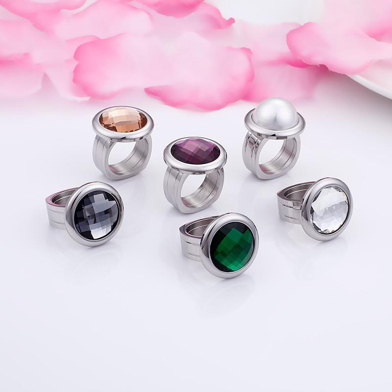 Rossny Women Rings Bulgaria Gold Stainless Steel & Colorful Stone Rings-Rings-Rossny