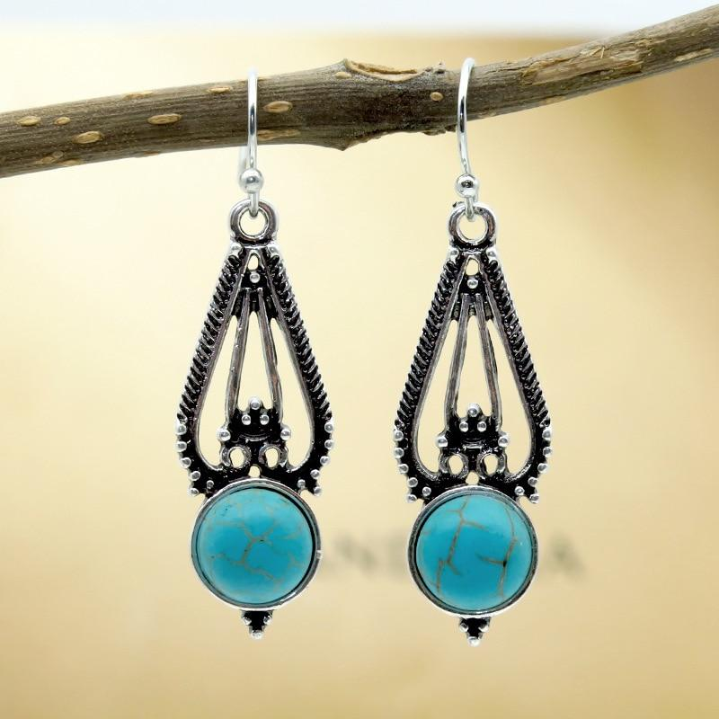 Hollow Turquoises Earrings-Eearrings-Rossny