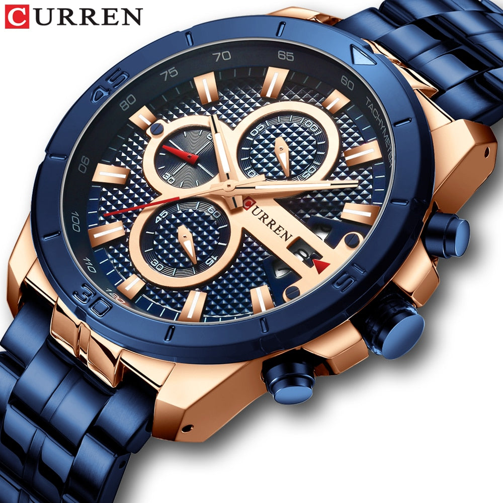 YSYH Men Watch Luxury Brand Stainless Steel Wrist Watch Chronograph Army Military Quartz Watches