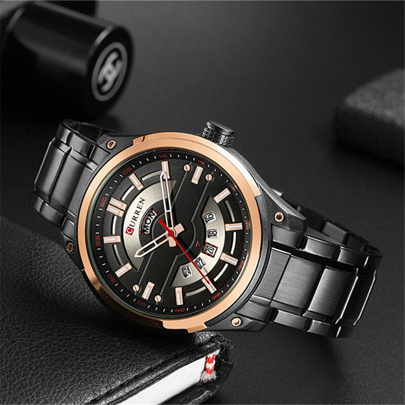 YSYH Calendar Watches Casual Sport Watch For Men 30M Water Resistant Stainless Steel Band Male Clock Luminous Wristwatches