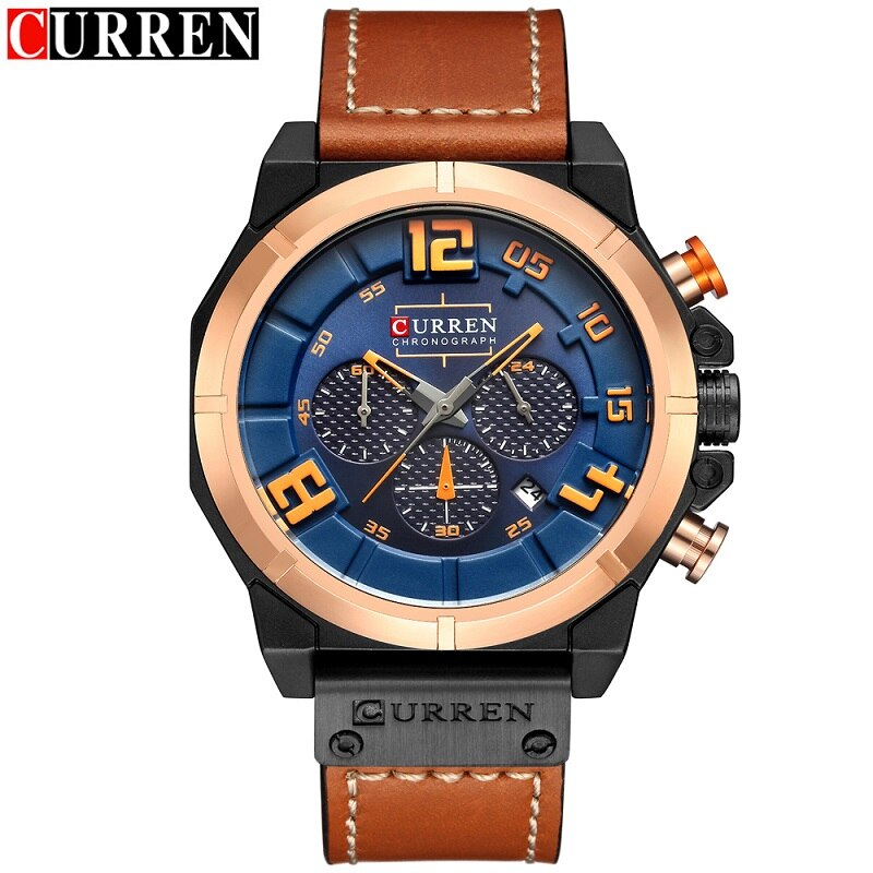 YSYH Chronograph Sports Men Watches Military Analog Quartz Wrist Watches Genuine Leather Strap Male Clock
