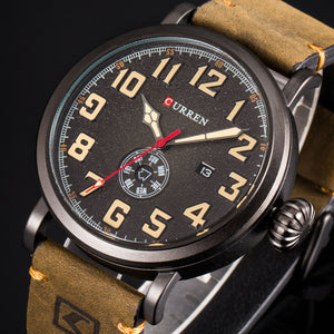 YSYH  Men Watch Casual Wristwatch Date Week Quartz Genuine Leather Strap Male Clock