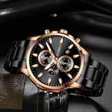 YSYH Fashion Watches Men Coffee Clock Men Quartz Wristwatch Stainless Steel Band Chronograph Watch Male