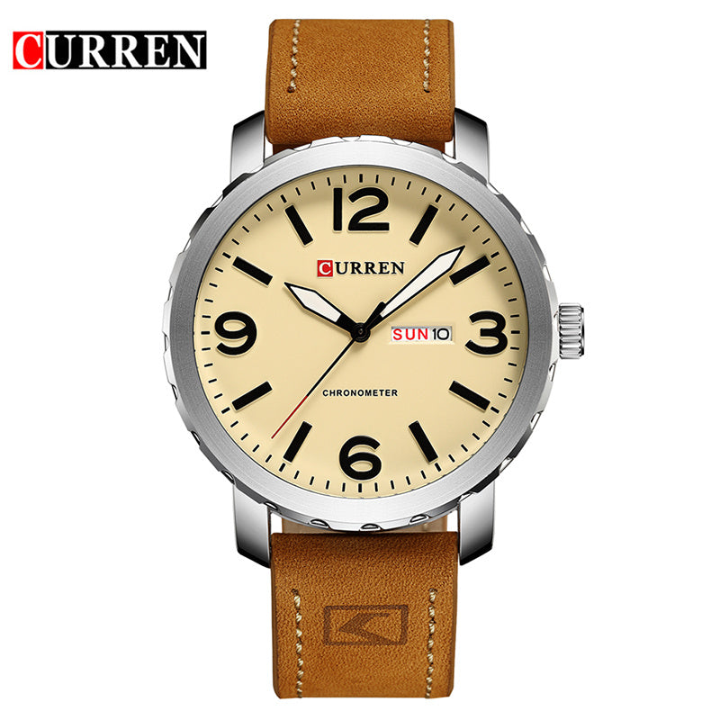 YSYH Men's Watch Leather Strap Quartz Wristwatch