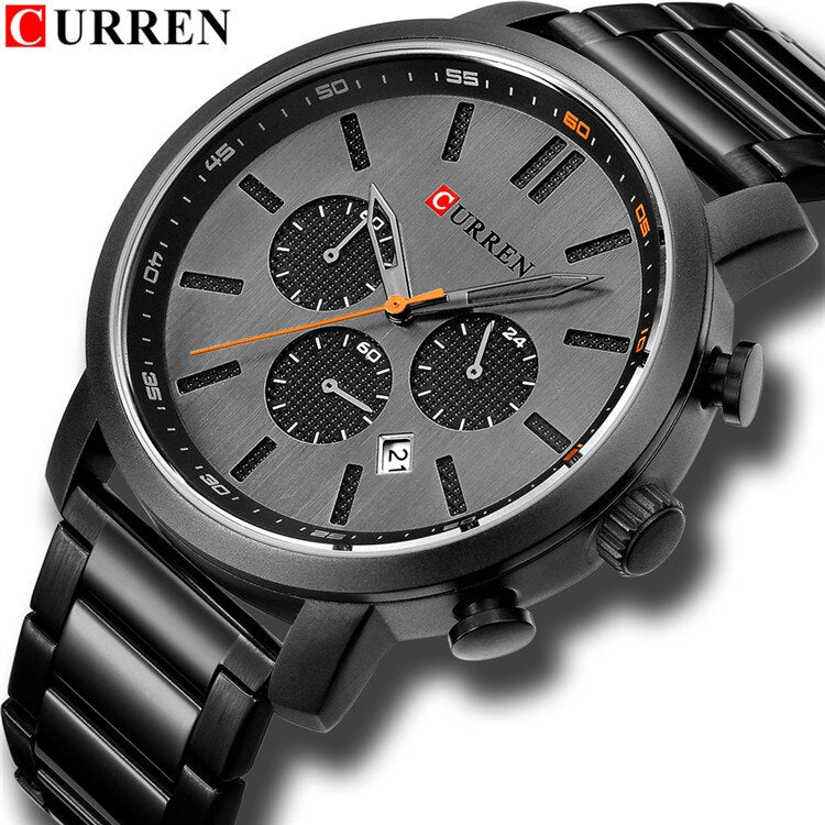 YSYH  Luxury  Casual Chronograph Date Stainless Steel Sport Military Male Clock Waterproof 30M