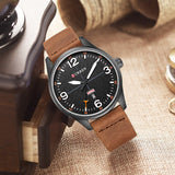 YSYH Simple style Calendar Casual Men Watches Leather Strap Male Clock  Quartz Week Display Wrist Watch