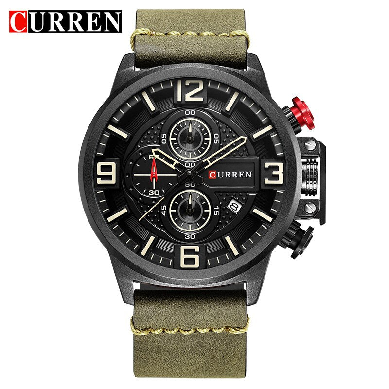 YSYH Sports Watches  Chronograph Military Quartz Date Men's Wristwatch Leather Strap  Male Clock