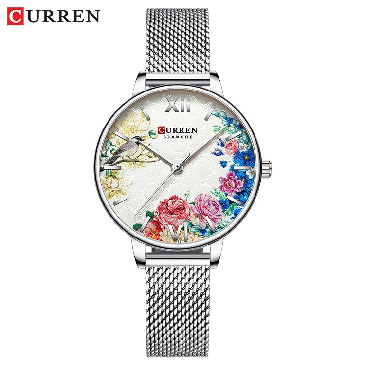 YSYH White Leather Watch for Women Watches Fashion Flower Quartz Wristwatch Female Clock Reloj Mujer Charms Ladies Gift