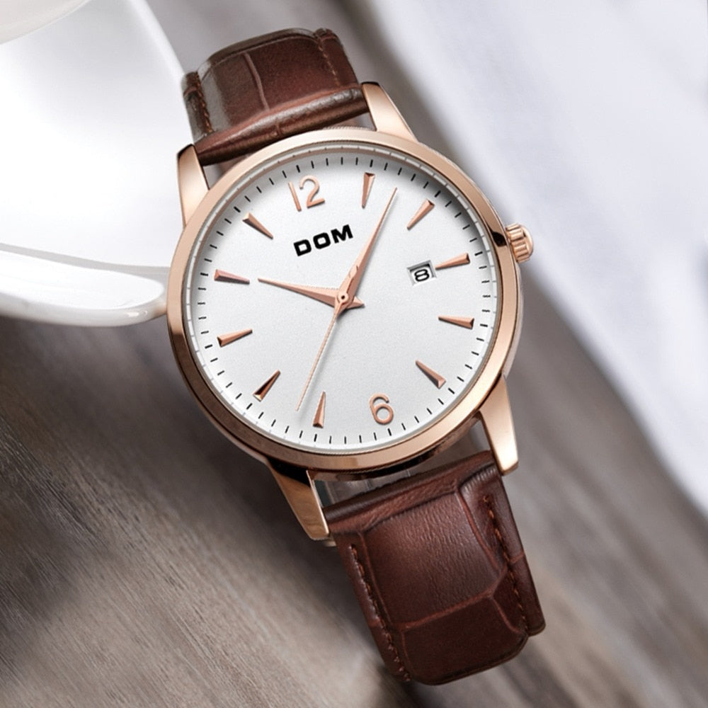 YSYH Men's Retro Simple Trend Watch Leather Strap Waterproof Design Calendar Display Quartz Wristwatch  Father's Day Gift