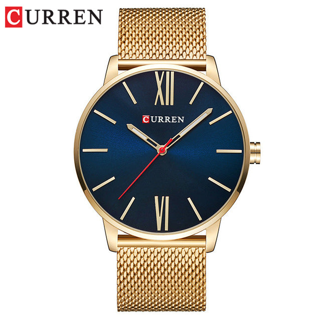 Golden Men Watch YSYH Quartz Watches Full Stainless Steel Band   Simple Wristwatch
