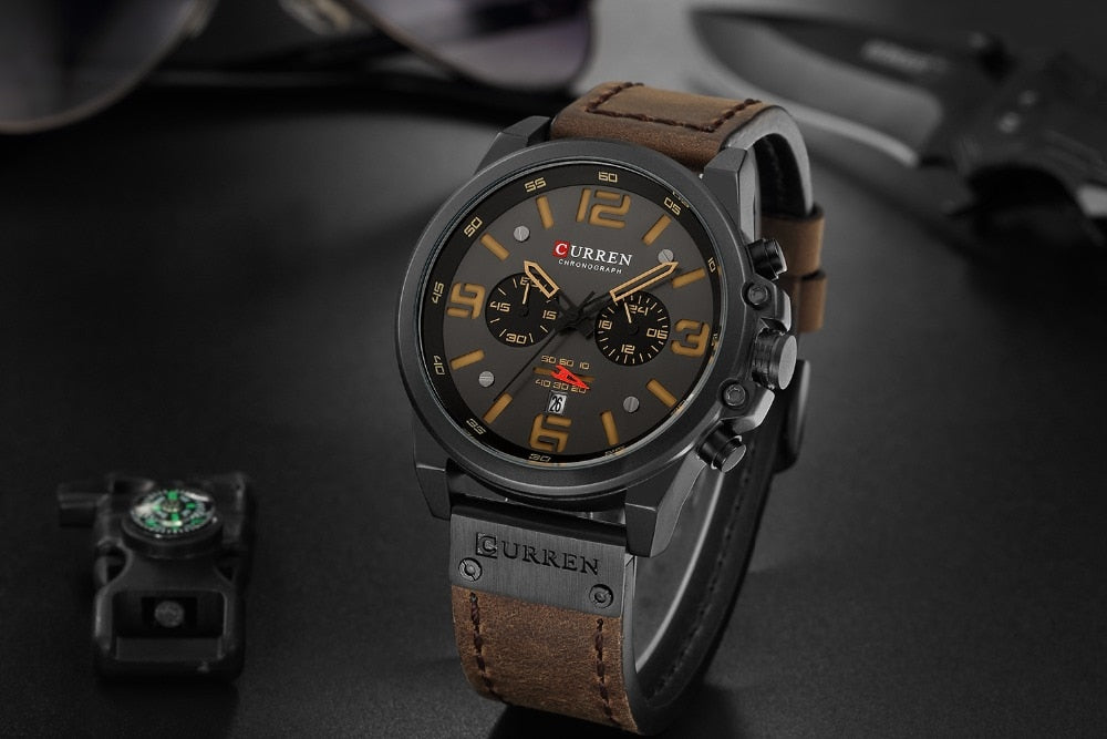 YSYH  Luxury Quartz Mens Wristwatches Leather Military Date Male Clock