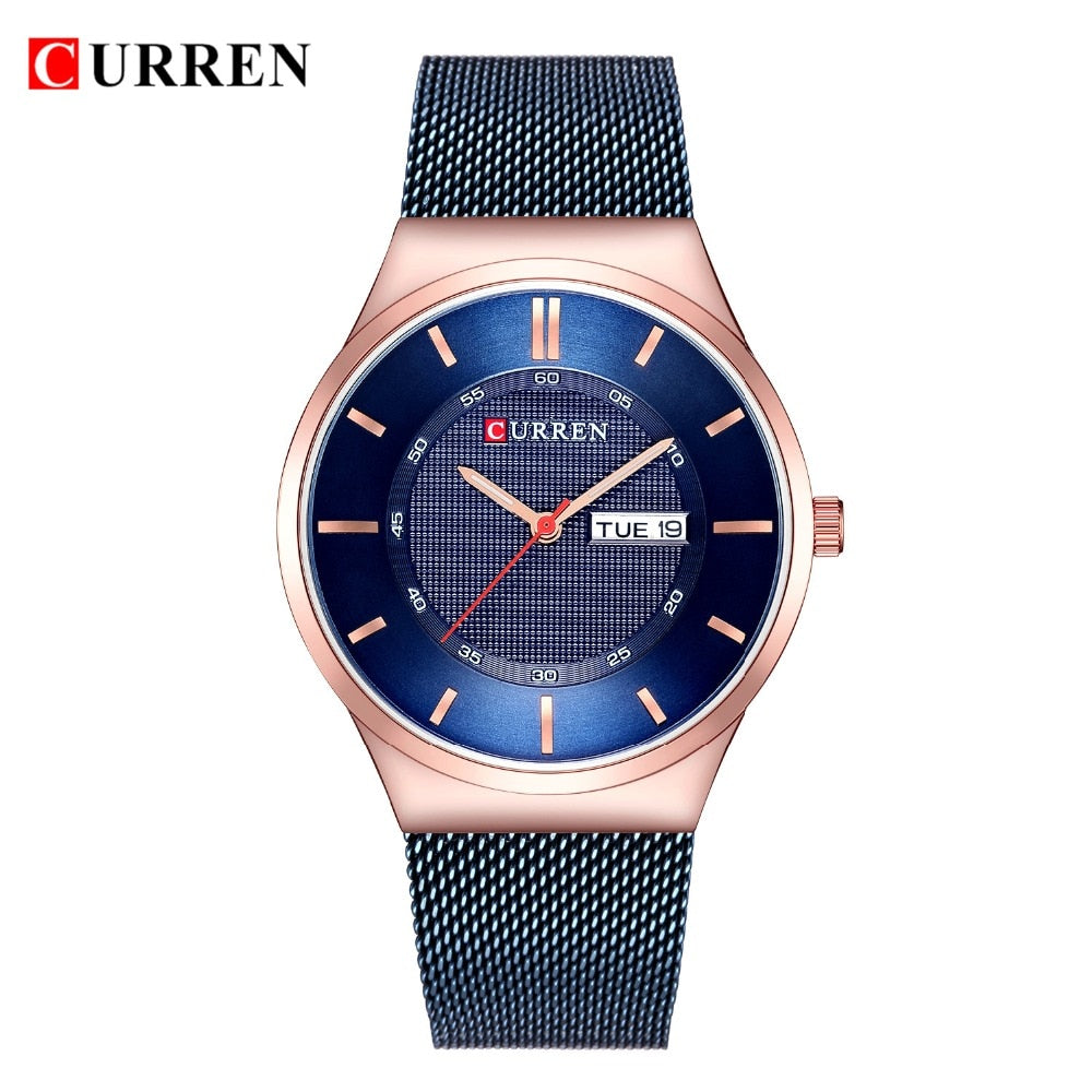 Men Watches Simple Style Stainless Steel Mesh Wristwatch YSYH  Quartz Male Clock With Week and Date Reloj Waterproof Hombre