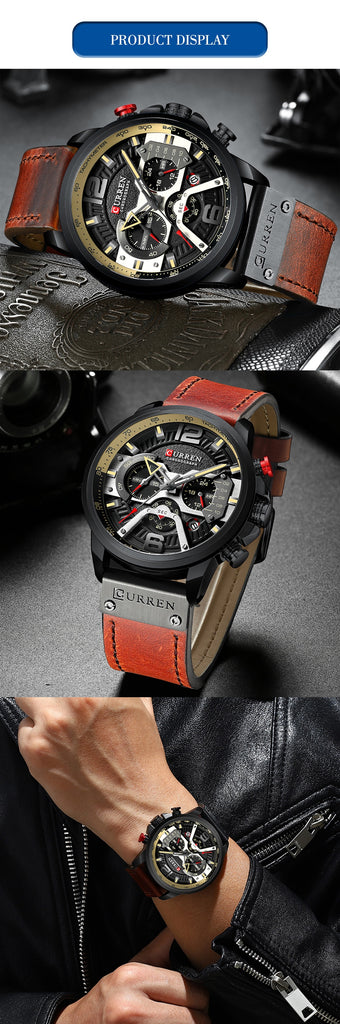 Wristwatch Mens YSYH   Luxury Sports Watch Men  Leather Watches with Calendar for Men Black Male Clock