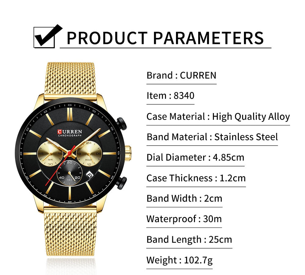 YSYH  Watch Men Waterproof Sport Watches for Men Stainless Steel Mesh Band Quartz Clock Casual Wristwatch